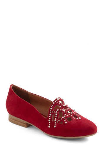 Exclamation Poinsettia Flat by Jeffrey Campbell - Red, Cutout, Studs, Flat, Leather, Holiday Party