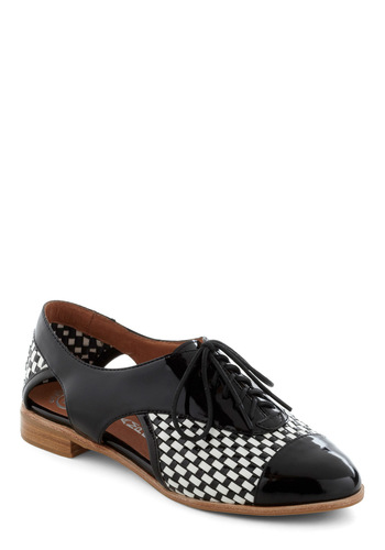 Woven Locomotion Flat by Jeffrey Campbell - Black, White, Checkered / Gingham, Cutout, Woven, Menswear Inspired, Lace Up, Low, Leather, Luxe, Statement