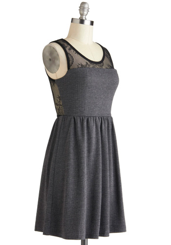 Film Law Intern Dress - Grey, Black, A-line, Tank top (2 thick straps), Sheer, Mid-length, Lace, Party, Scoop