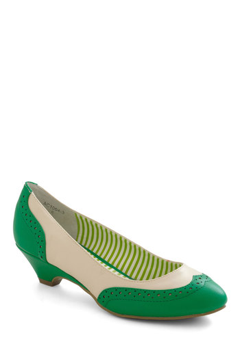 Sweet Spectator Heel in Spearmint by Bait Footwear - Green, White, Low, Menswear Inspired, Leather, Vintage Inspired, 30s, Tis the Season Sale, Variation