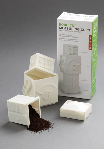 Robo Cup Measuring Cups in White by Kikkerland - White, Urban, Mod, Quirky, Tis the Season Sale