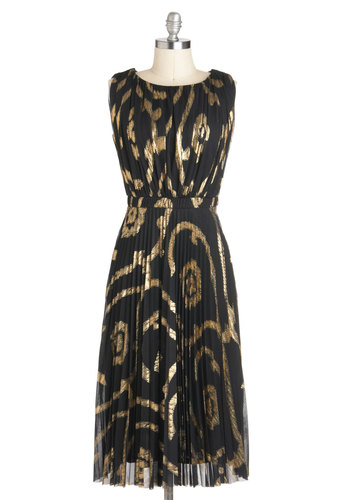 Maybe It's Gold Outside Dress - Long, Black, Gold, Pleats, Special Occasion, A-line, Sleeveless, Party, Cocktail, Vintage Inspired, Luxe