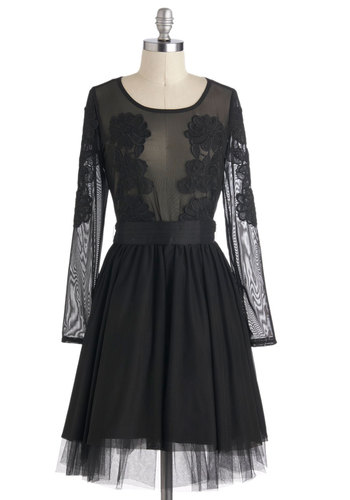 Gala About Town Dress by Eva Franco - Black, Lace, Luxe, A-line, Long Sleeve, Belted, Solid, Party, Holiday Party, Cocktail, Film Noir, Vintage Inspired, Pinup