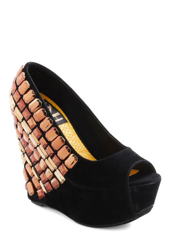 Proper Copper Wedge - Black, Gold, Statement, Urban, High, Platform, Wedge, Peep Toe, Rhinestones