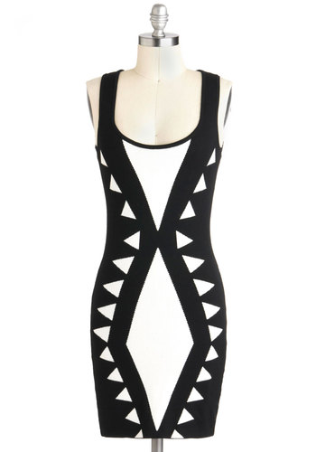 Angle of Approachability Dress - Black, White, Print, Girls Night Out, Bodycon / Bandage, Sleeveless, Short, Statement