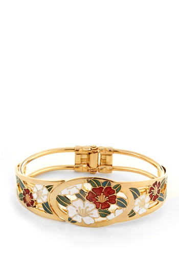Sea Hibiscus Bracelet - Gold, Floral, Red, Green, White, Tis the Season Sale
