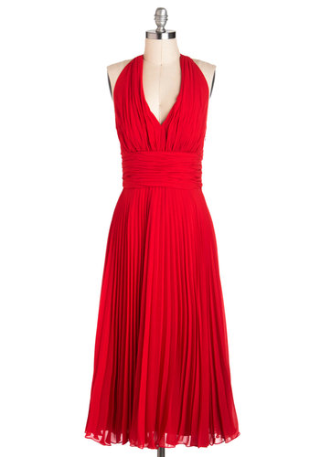 University of Marilyn Dress in Rouge - Red, Solid, Pleats, Wedding, A-line, Halter, Long, Cocktail, Exclusives, Vintage Inspired, 50s, Pinup, Prom, Summer, Bridesmaid, Valentine's