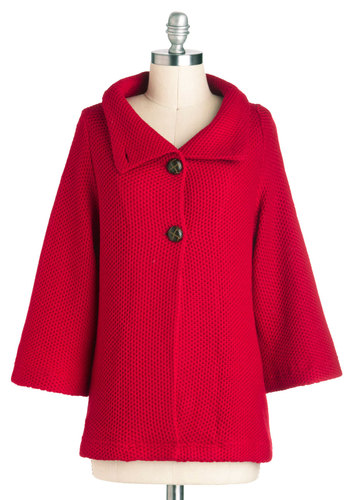Corner Coffee Shop Cardigan in Rouge - Mid-length, Red, Solid, Buttons, Work, 3/4 Sleeve, Collared, Casual, Vintage Inspired, 60s, Variation, Winter, Top Rated