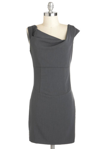 Go-Getter Glamour Dress - Short, Grey, Solid, Party, Work, Sheath / Shift, Sleeveless, Minimal, Tis the Season Sale
