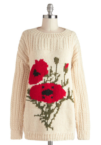Poppy By For A Visit Sweater - Mid-length, Cream, Red, Green, Solid, Knitted, Casual, Long Sleeve, Vintage Inspired, International Designer