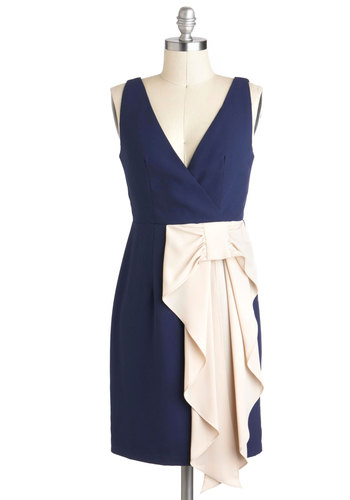 Bow-ing Out Tonight Dress - Blue, Tan / Cream, Bows, Party, Sheath / Shift, Sleeveless, Mid-length, Cocktail, Special Occasion