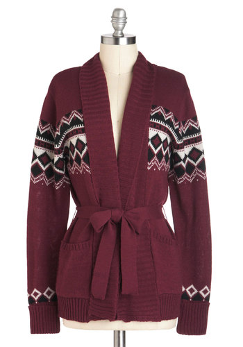 Lakehouse Lounge Cardigan - Mid-length, Red, Blue, White, Argyle, Casual, Long Sleeve, Fall, Pockets, Belted, Rustic, International Designer