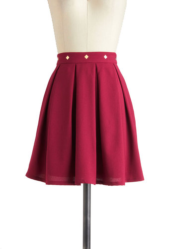 Sass in the Workplace Skirt - Red, Studs, A-line, Solid, Short, Casual, Urban, Tis the Season Sale