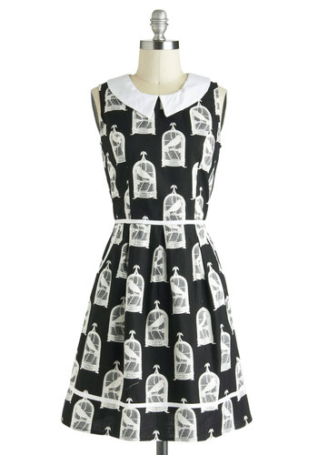 All Eyes on Unique Dress in Birdcage - Black, White, Peter Pan Collar, Pockets, A-line, Sleeveless, Exclusives, Cotton, Mid-length, Novelty Print, Casual, Collared, Tis the Season Sale, Top Rated