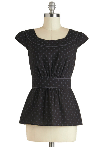 Cool with Me Top in Cola by Emily and Fin - Cotton, Mid-length, Black, Grey, Polka Dots, Work, Peplum, Cap Sleeves, International Designer, Tis the Season Sale, Variation