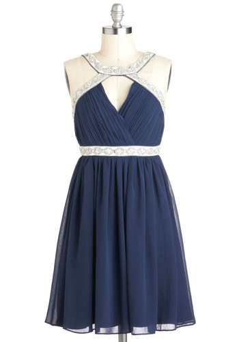 Celestial Shimmer Dress - Blue, Silver, Trim, Empire, Sleeveless, Ruching, Mid-length, Beads, Formal