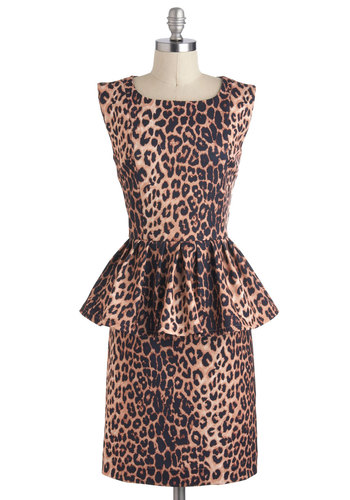 In Hot Purr-suit Dress - Mid-length, Tan, Brown, Black, Animal Print, Party, Pinup, Vintage Inspired, Peplum, Cocktail, Sleeveless, Safari
