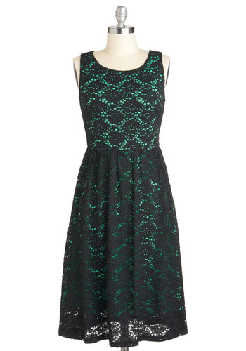 Pure Fulfill-Mint Dress - Long, Black, Green, Crochet, Party, A-line, Sleeveless, Tis the Season Sale, Lace, Holiday Party