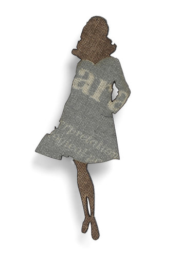 Chic Silhouette Pin - Print, Brown, Eco-Friendly, Vintage Inspired, 40s, Grey