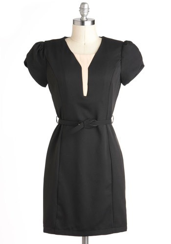 Chic to Me Dress - Black, Tan / Cream, Solid, Belted, Work, Short Sleeves, Mid-length, Vintage Inspired, Sheath / Shift