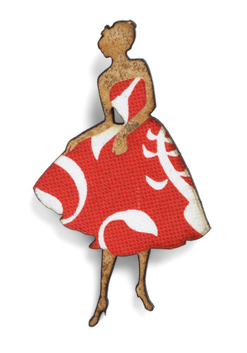 Lady Pin Waiting Brooch - Red, White, Print, Tan / Cream, Eco-Friendly, Vintage Inspired, 40s
