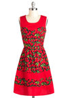 You've Got the Tulips Dress - Red, Green, Floral, Vintage Inspired, A-line, Sleeveless, Exclusives, Mid-length, Cotton, Daytime Party, Buttons, Tis the Season Sale