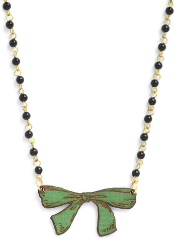 Bow So Charming Necklace - Green, Print, Beads, Bows, Black