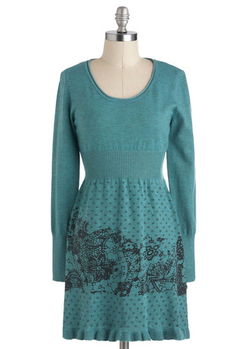 Teal Then Dress - Print, Casual, Sweater Dress, Long Sleeve, Short, Fall, Green