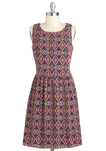 Pixelate Afternoon Dress - Mid-length, Multi, Print, Casual, Folk Art, A-line, Sleeveless, Tis the Season Sale