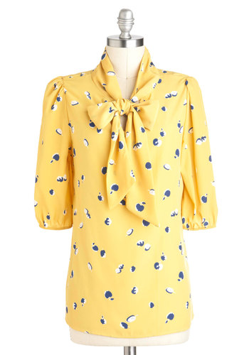 Just a Jubilee Top - Yellow, Tie Neck, Fruits, 3/4 Sleeve, Sheer, Mid-length, Work, Blue, Novelty Print, Tis the Season Sale, Pinup, Yellow, 3/4 Sleeve