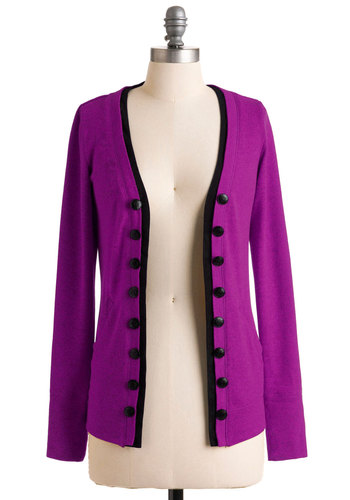 Fine and Dandelion Cardigan in Fuchsia - Purple, Black, Buttons, Trim, Casual, Long Sleeve, Tis the Season Sale, Variation
