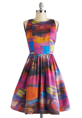 Plenty by Tracy Reese Riveting Reflections Dress by Plenty by Tracy Reese - Multi, Cutout, Party, Sleeveless, Fit & Flare, Print, Pockets, Satin, Mid-length, Luxe, Statement