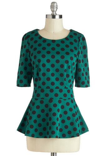 Spot You From Afar Top - Green, Black, Polka Dots, Peplum, Work, Mid-length