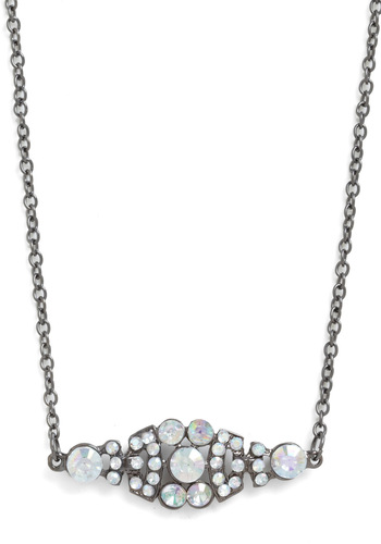 Refined and Dandy Necklace - White, Silver, Rhinestones, Vintage Inspired, Luxe, Tis the Season Sale