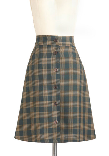 Intro to Forestry Skirt - Green, Tan / Cream, Plaid, Buttons, A-line, Mid-length, Pockets, Work, Scholastic/Collegiate, Tis the Season Sale, Rustic