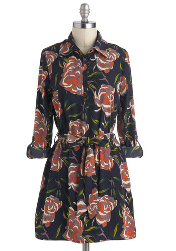 Flower Shop Party Dress - Floral, Buttons, Shirt Dress, Long Sleeve, Belted, Mid-length, Collared, Casual, Multi, Tis the Season Sale, Winter