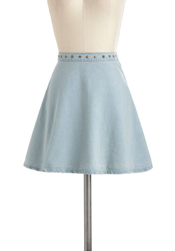 Loving Every Rivet Skirt - Blue, Solid, Studs, A-line, Denim, Cotton, Short, 90s, Urban