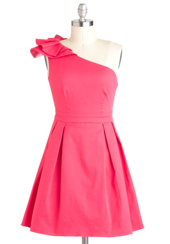 Boy Oh Buoyant! Dress - Pink, Solid, Pleats, A-line, One Shoulder, Summer, Cotton, Short, Daytime Party