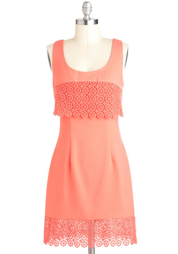 Tableau and Behold Dress - Solid, Crochet, Tiered, Vintage Inspired, Sheath / Shift, Sleeveless, Mid-length, Coral, Daytime Party, Graduation, Scoop