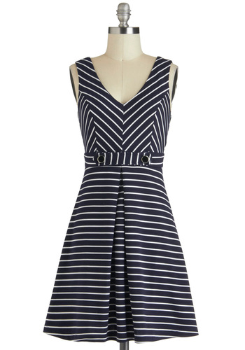 Marina Girls Dress - Blue, White, Stripes, Nautical, A-line, Sleeveless, Short, Exposed zipper, Daytime Party, Buttons, Chevron