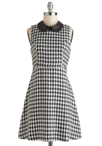 Monochrome for the Holidays Dress - Short, Black, White, Houndstooth, A-line, Sleeveless, Collared, Vintage Inspired, Casual, Daytime Party