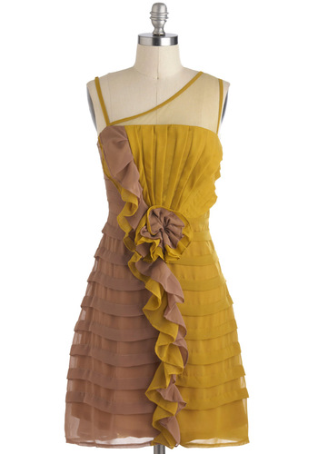 Let's Get Ready to Ruffle Dress by Ryu - A-line, Sheer, Mid-length, Yellow, Brown, Ruffles, Tiered, Party, Prom
