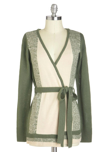 Fashionable by the Fire Cardigan - Mid-length, Green, White, Casual, Long Sleeve, Belted