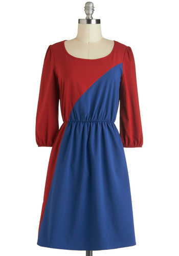 Favoritism for Minimalism Dress - Mid-length, Red, Blue, Casual, Colorblocking, A-line, 3/4 Sleeve
