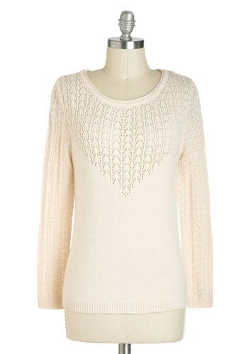 Pointelle a Tale Sweater - Sheer, Mid-length, Cream, Solid, Knitted, Casual, Long Sleeve, Pastel