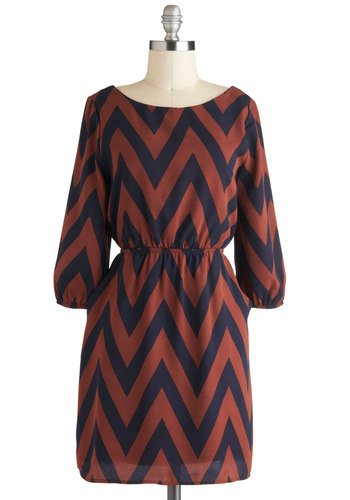 Chevron-dezvous Dress - Blue, Print, A-line, 3/4 Sleeve, Casual, Short, Brown, Pockets, Fall, Chevron