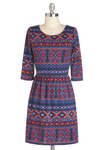 Post-Siesta Fiesta Dress - Blue, Multi, A-line, 3/4 Sleeve, Print, Casual, Jersey, Mid-length, Rustic, Fall, Travel