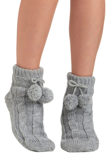 Toasty Toe Touch Socks - Grey, Solid, Knitted, Poms, Winter