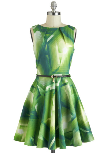 Luck Be a Lady Dress in Green Prisms - Green, Print, Belted, A-line, Sleeveless, Exposed zipper, Pockets, Party, Daytime Party, Vintage Inspired, Cotton, Mid-length, Basic