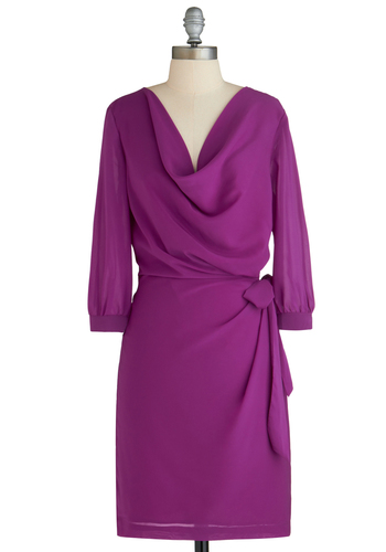 Fuchsia and Far Between Dress - Mid-length, Purple, Solid, Cocktail, Shift, 3/4 Sleeve, Work